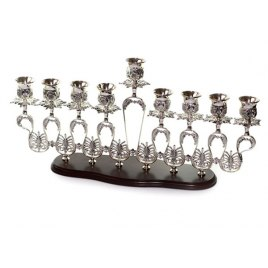 Silverplate on Wood Base Hanukah Menorah, Menorahs for Sale