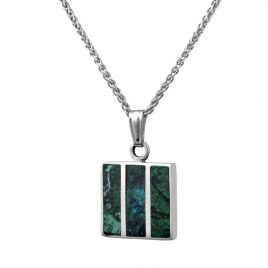 Sterling Silver Eilat Stone Divided Square Necklace