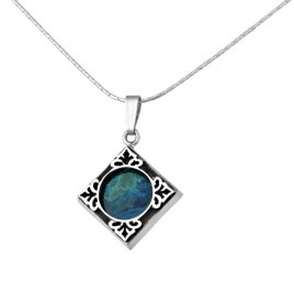 Sterling Silver Eilat Stone Elaborate Diamond Shaped Necklace