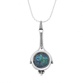 Sterling Silver Eilat Stone Long Hanging Pendant