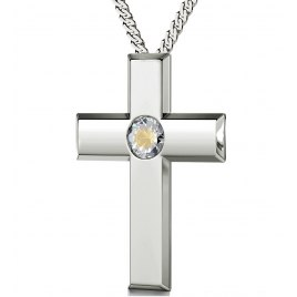 Psalm 23 in Spanish Sterling Silver Cross - Clear Crystal