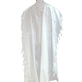 White Silver Acrylic Mishkan Hatchelet Tallit Prayer Shawl